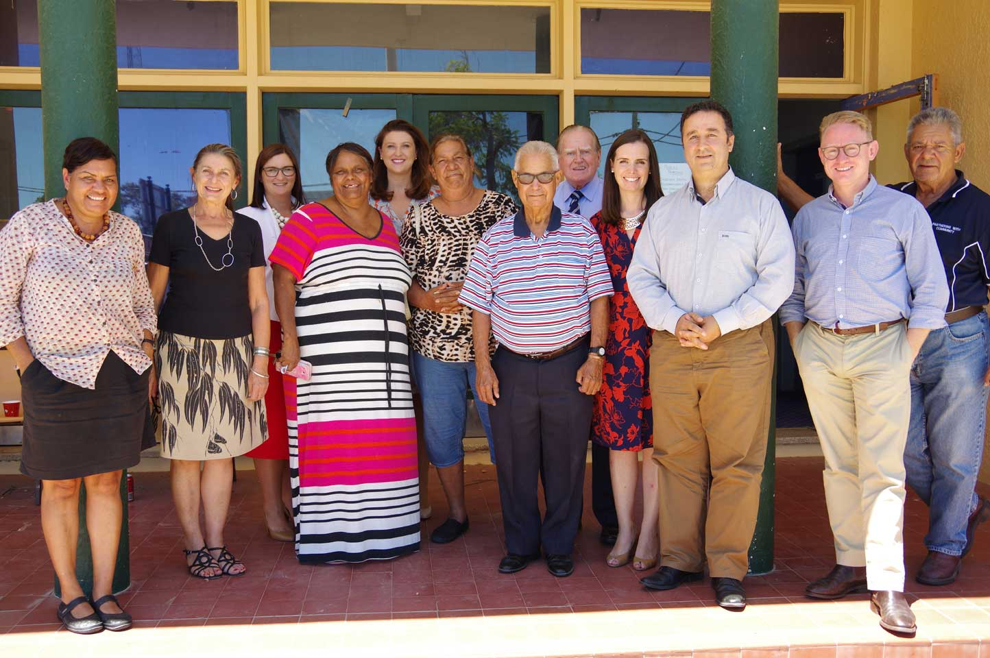 Some witnesses and NSW Committee members take a photo break from the Inquiry Hearings. Walgett 18 February 2016.