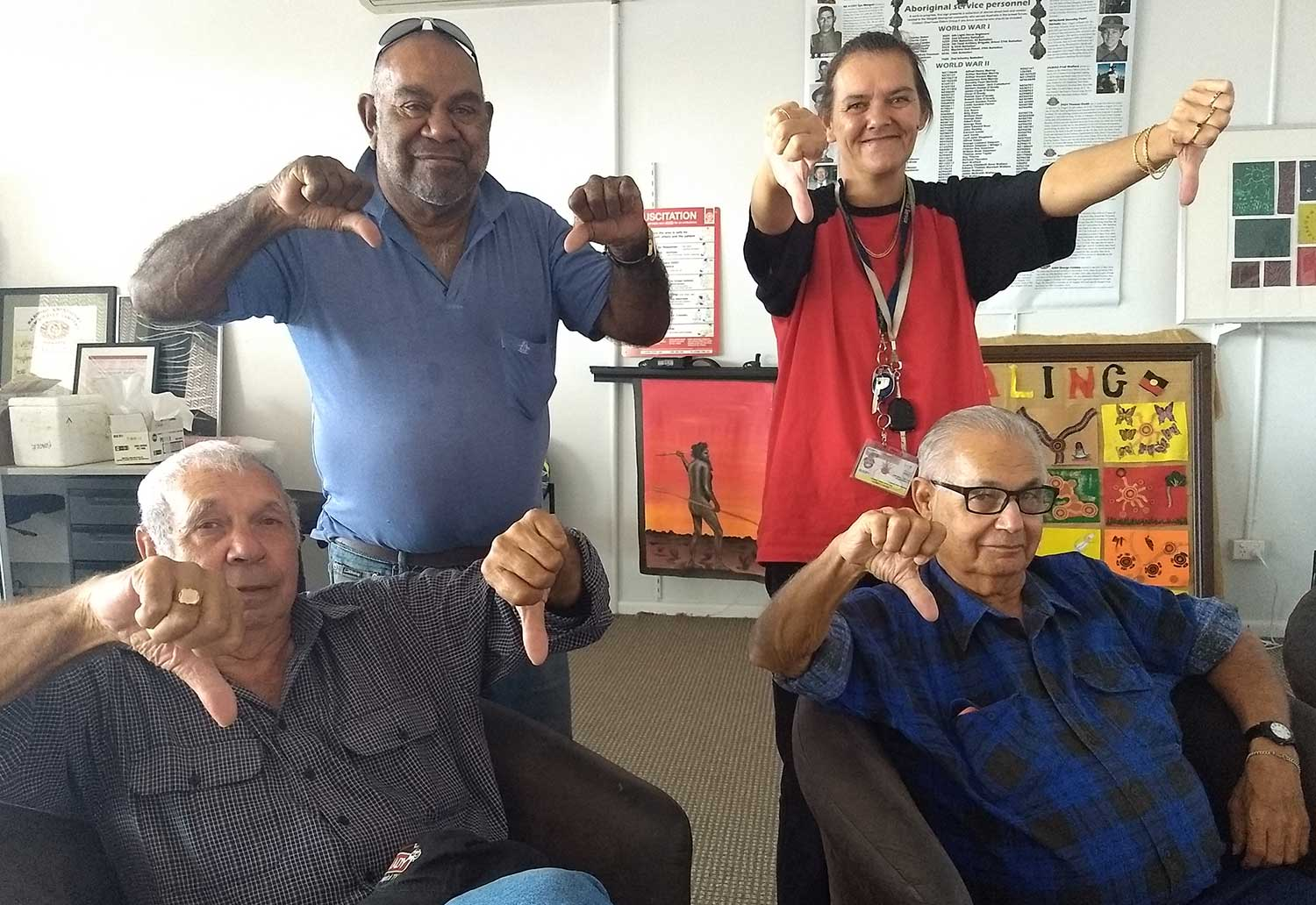 DEG's Richard Lake, Clem Dodd and Lewis Beale with staffmember Vanessa Hickey after endorsing the final version of the DEG's submission in response to the Aboriginal Cultural Heritage Bill 2018 (NSW) 18/4/18.